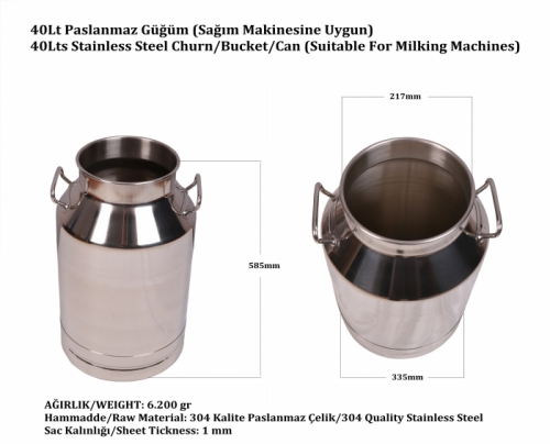 40 Lts Stainless Steel Can/Bucket (Suitable for Milking Machines)